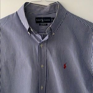 Blue and white Polo button down shirt